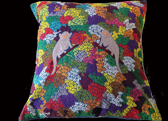 Embroidered Cushion with Lemurs