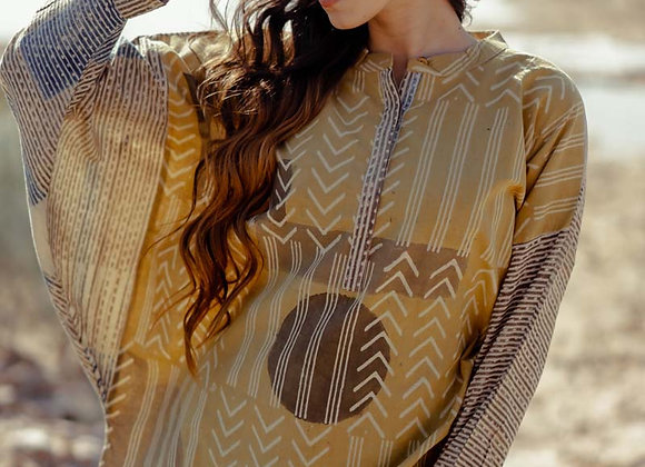 Blockprinted with natural dyes free size top - indigo, ochre and grey