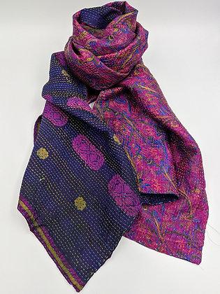"upcycled silk sari ""kantha"" scarf - deep navy and rani pink print"
