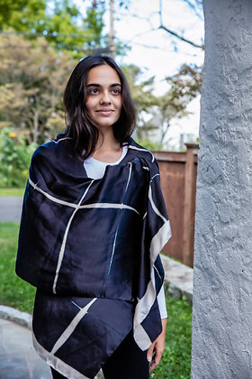 itajime (clamp-dyed) silk shibori stole in large black and white checks