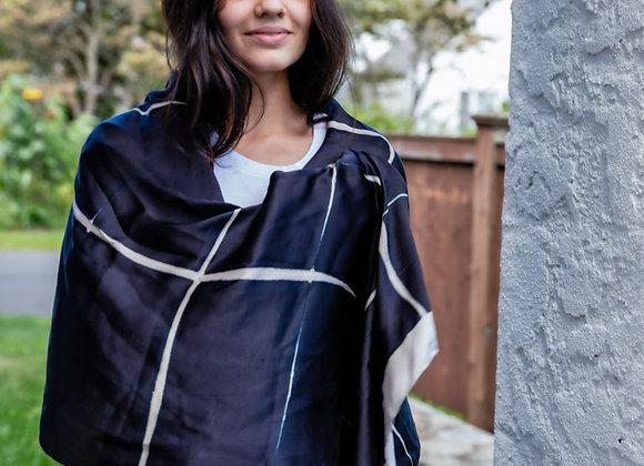 itajime (clamp-dyed) silk shibori stole in large black and white checks