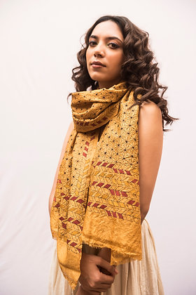 Nakshi Kantha - Allover kantha embroidery, gold star pattern