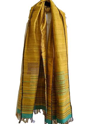 Silk jamdani scarf -  with inlaid stripes - golden yellow