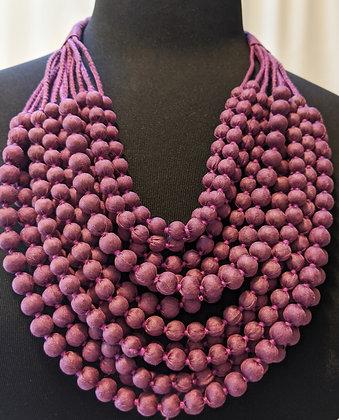 upcycled 12-strand silk sari necklace - deep lilac