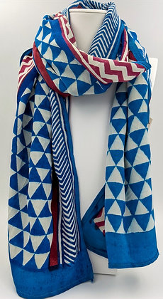 Hand-block printed scarf - geometric blue, magenta and white