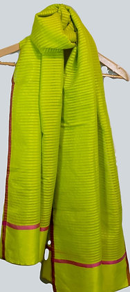 handwoven with handspun (khadi) cotton and silk scarf/stole - key lime