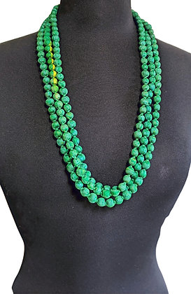 upcyled single-strand silk sari necklace - christmas green