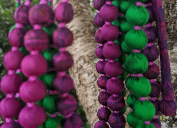 six-strand silk sari necklace - emerald green and purple