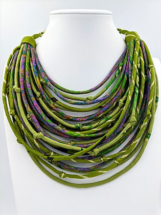 upcycled silk sari string necklaces - lime with hints of lavender