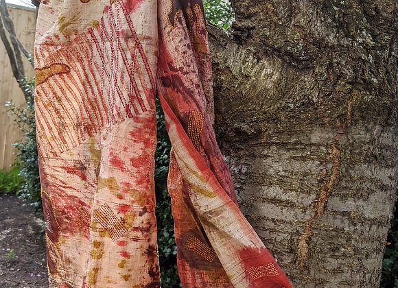 Blockprinted, handpainted silk scarf with kantha stitch stole - earth
