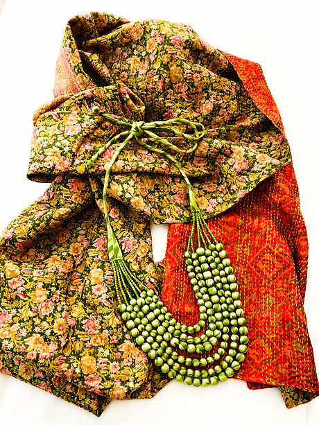 """Reversible, upcycled sari """"kantha"""" embroidered scarf"""