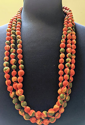 upcycled single-strand silk sari necklace - papaya