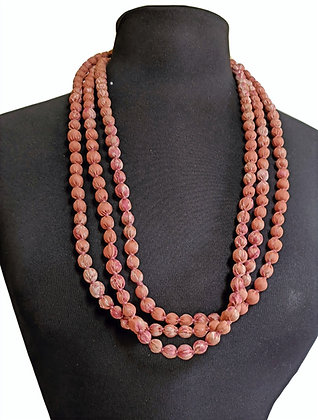 upcyled single-strand silk sari necklace - dusky pink / peachy brown
