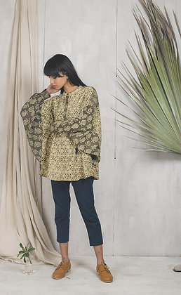 Blockprinted with natural dyes, free size top - khaki and black