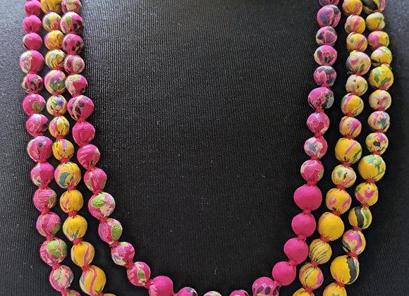 upcycled single-strand silk sari necklace - fuchsia and sun yellow
