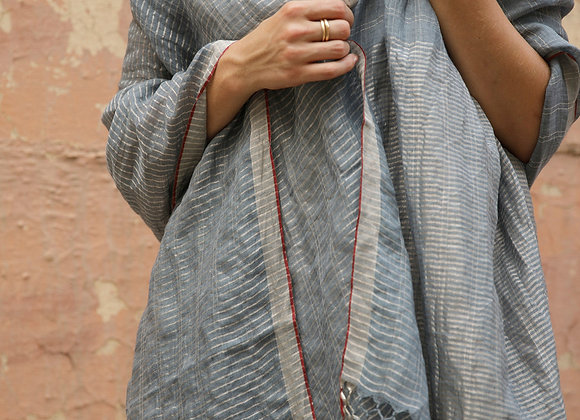 Linen and Zari wrap - Slate blue / grey and silver