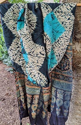 Shibori-Ajrakh Scarf - zig-zag stitched design with turquoise kumo