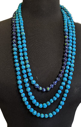upcyled single-strand silk sari necklace - turquoise and midnight-blue