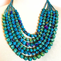 Upcycled sari necklace