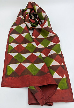 Hand-block printed scarf - triangles -olive and wine