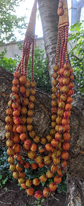 upcycled six-strand silk sari necklace - bronze and gold