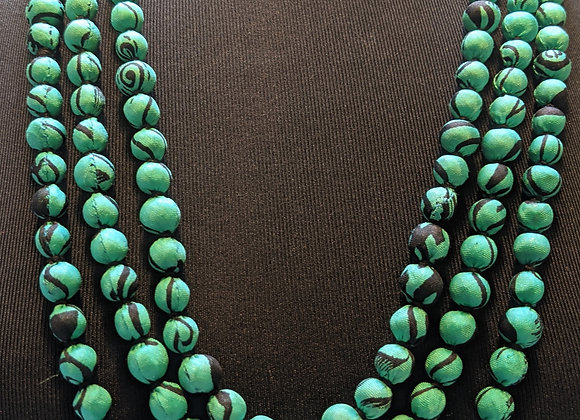 upcycled single-strand silk sari necklace - teal and black