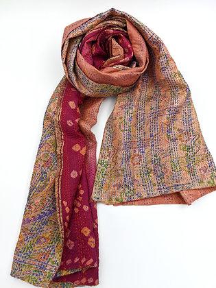 """silk sari """"kantha"""" scarf - deep pink bandhani, orange & blue multi print"""
