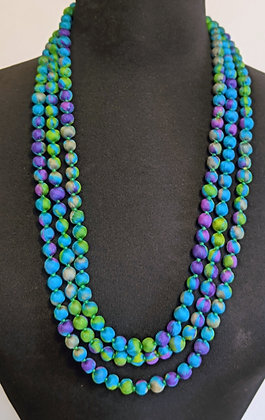 upcyled single-strand silk sari necklace - blue-green-purple
