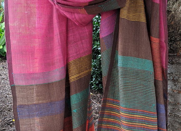 Khadi-Silk jamdani scarf - coral with stripes inlaid in multiple colors