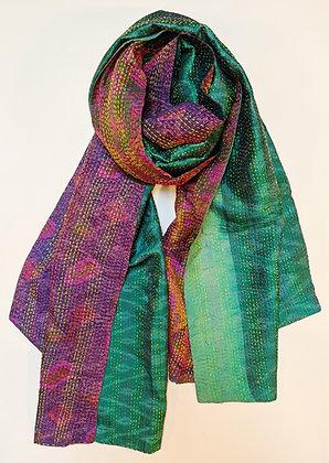 "upcycled silk sari ""kantha"" scarf - purple and green ikat"