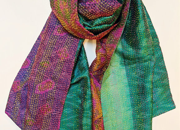 "upcycled silk sari ""kantha"" scarf - purple and green ikat"