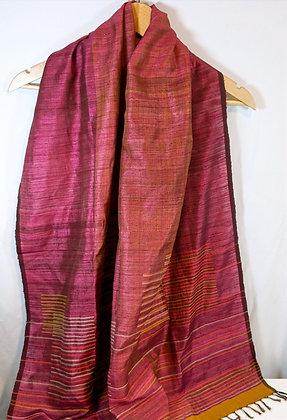 Silk jamdani scarf -  with inlaid stripes - deep rose