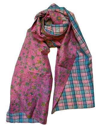 "upcycled silk sari ""kantha"" scarf - pink floral and checks"
