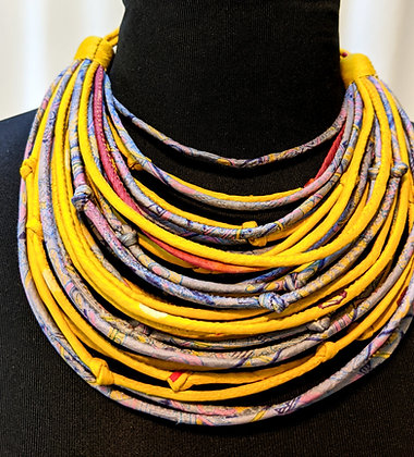 upcycled silk sari string necklaces - yellow and silver-grey