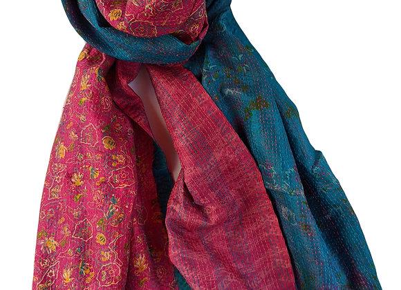 "upcycled silk sari ""kantha"" scarf - rani pink and turquoise"
