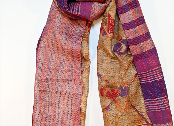 "upcycled silk sari ""kantha"" scarf- coral, purple stripes, print on gold"