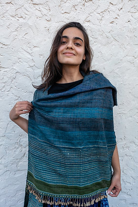 Handwoven wool and wild silk extra-weft stole: striated blue, green border