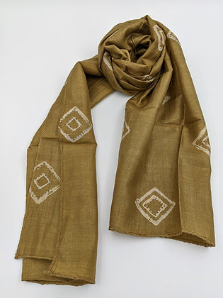 handwoven tussar or wild silk naturally dyed shibori scarf - myrobalan