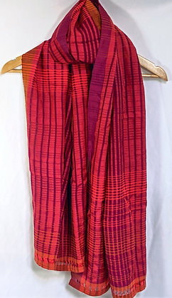 handwoven with handspun (khadi) cotton and silk - shades of red