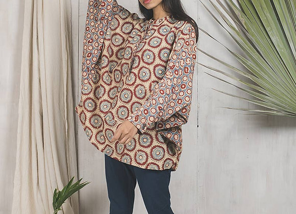 Blockprinted with natural dyes free size top - khaki, red and indigo