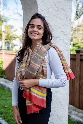 clamp-dyed (itajime) silk shibori stole scarf