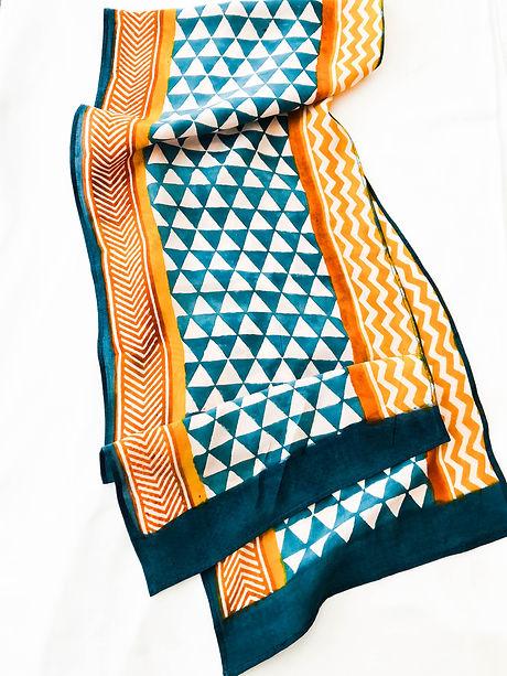 Studio Syu geometirc block-printed scarf