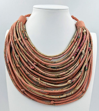 upcycled silk sari string necklaces - peaches and cream