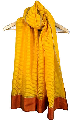 handwoven with handspun (khadi) cotton and silk scarf/stole - sun yellow