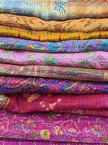 upcycled silk sari kantha scarves