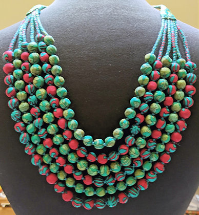 upcycled six-strand necklace - christmas