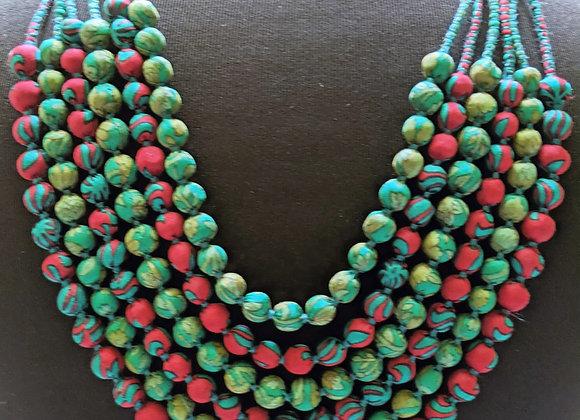 upcycled six-strand necklace - christmas