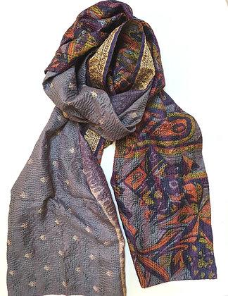 "upcycled silk sari ""kantha"" scarf - navy and orange print with silver-gray"