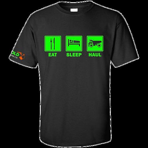 Black Eat-Sleep-Haul T-Shirt NEON