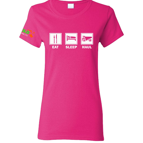 Ladies Pink Eat-Sleep-Haul T-Shirt